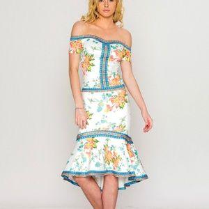 2pc top & skirt elegant floral print bodycon dress